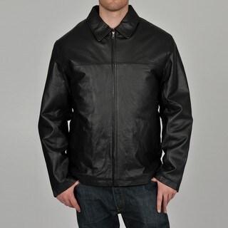 Knoles & Carter Men's Black Big & Tall Classic Chest Zip Open-Bottom Leather Jacket