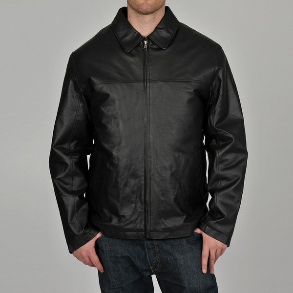 Knoles & Carter Men's Black Big & Tall Classic Chest Zip Open-Bottom Leather Jacket