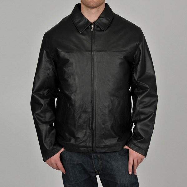 Knoles & Carter Men's Black Classic Chest Zip Open-Bottom Leather Jacket
