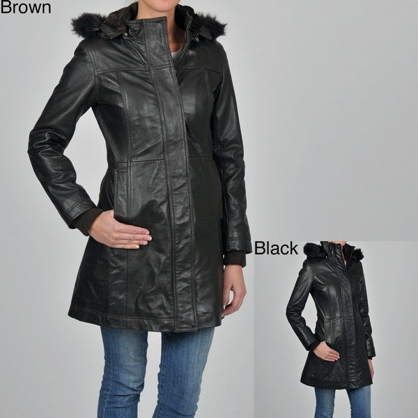 Knoles & Carter Women's Plus Size Leather Faux Fur-trimmed Hooded Jacket