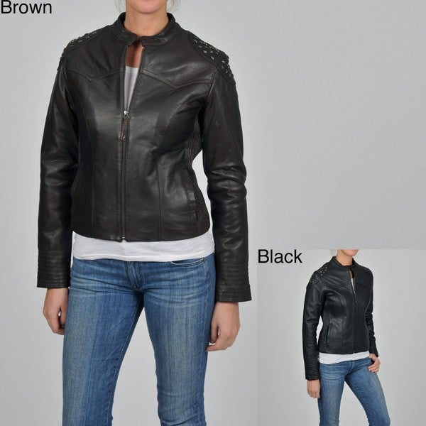 Knoles & Carter Women's Plus Size Leather Star Stud Scuba Jacket