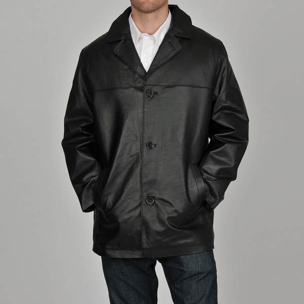 Knoles & Carter Men's Black Double Stitch Leather Car Coat