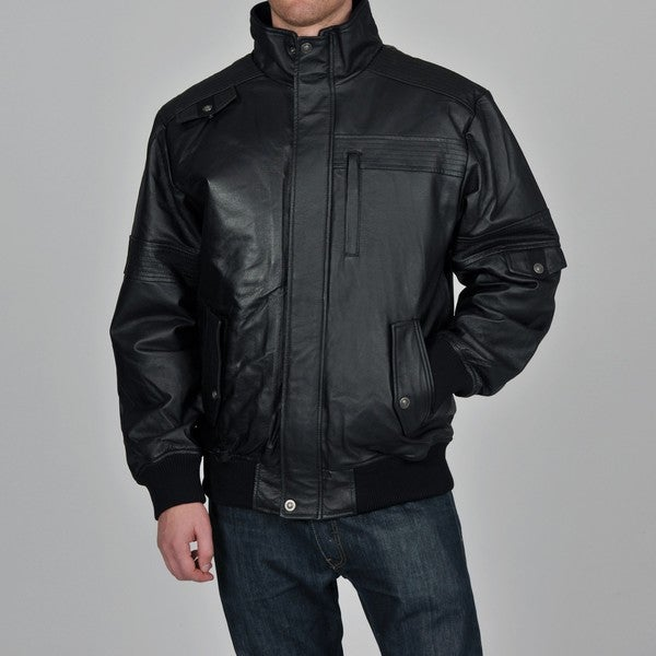 Knoles & Carter Men's Black Rib Collar Baseball Leather Bomber