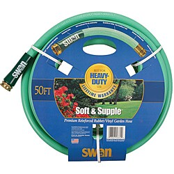"Swan Soft Supple 5/8""x50' Reinf Rubber/vinyl Garden Hose"