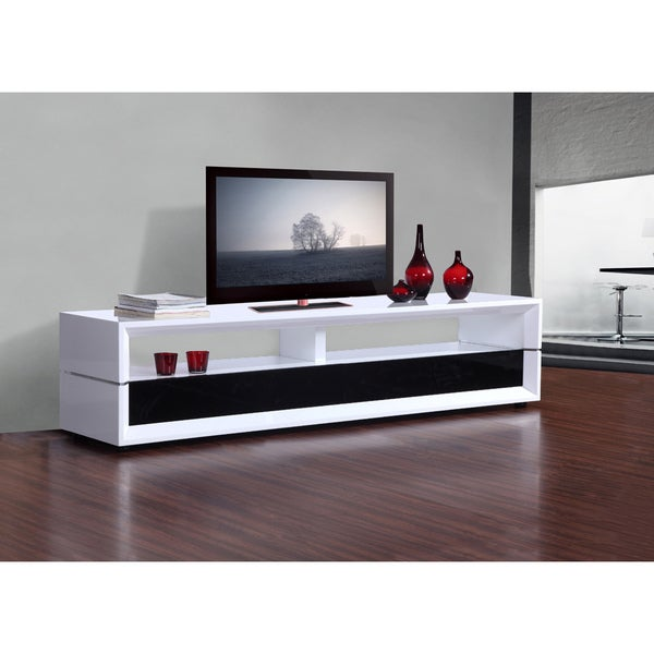 mogul white black two drawer modern tv stand free shipping today 13959293. Black Bedroom Furniture Sets. Home Design Ideas