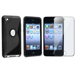 INSTEN Black TPU iPod Case Cover/ Screen Protector for Apple iPod Touch 4th Generation