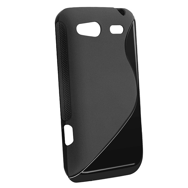 Frost Black S Shape TPU Rubber Skin Case for HTC G15