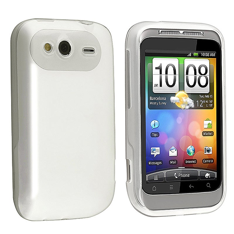 Clear White TPU Rubber Skin Case for HTC Wildfire S