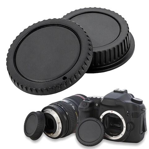 INSTEN Black Plastic Body Cap and Lens Rear Cover Cap for Canon EOS