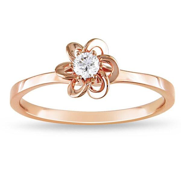 Miadora 14k Pink Gold 1/10ct TDW White Diamond Ring