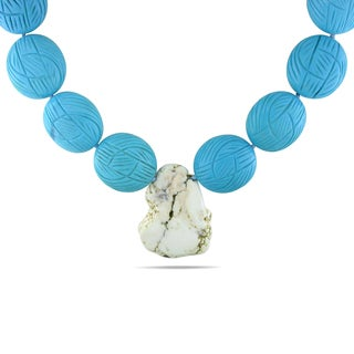 Miadora Silvertone Turquoise and Quartz Bead Necklace
