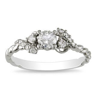Miadora 14k White Gold 1/2ct TDW Rope Twist Diamond Ring