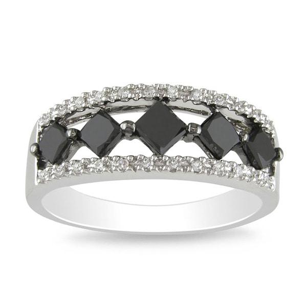 Miadora 10k White Gold 1ct TDW Black and White Diamond Ring (I-J, I2-I3)