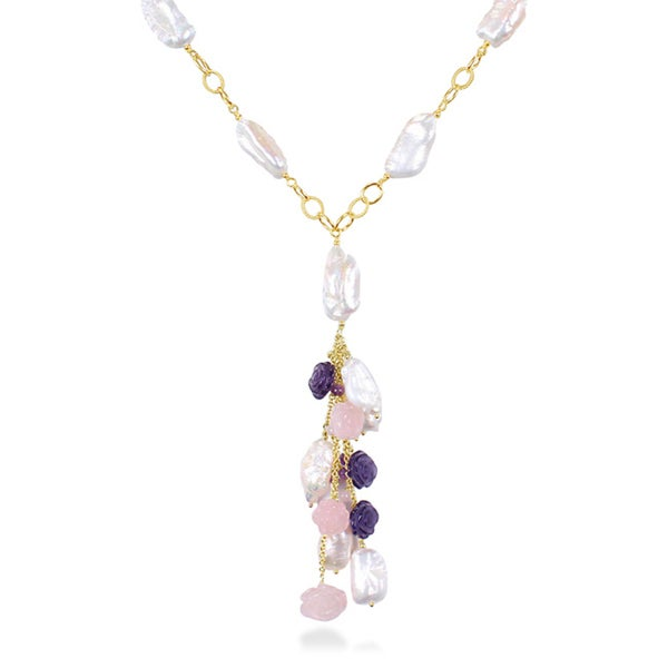 Miadora Yellow-Plated Silver Amethyst, Rose Quartz and FW White Pearl Necklace (9-11 mm)