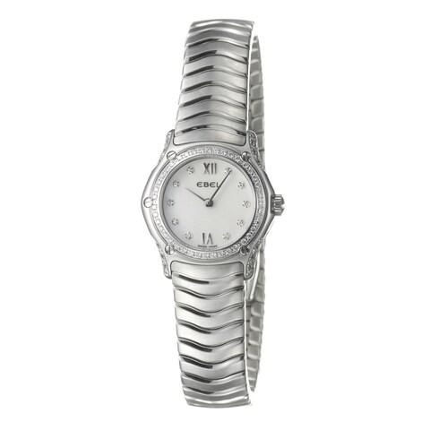 Ebel Women's 'Classic Wave' Stainless Steel 84 Diamond Quartz Watch