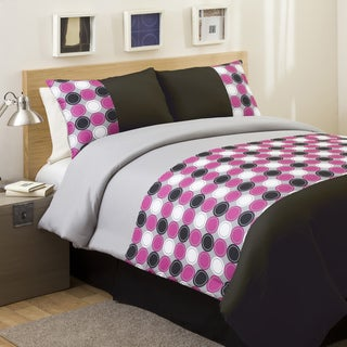 Lush Decor Pink/ Grey Mod Print 4-piece Full-size Comforter Set
