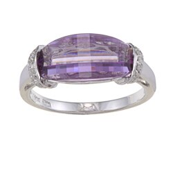 Sofia 14k White Gold Amethyst and 1/8ct TDW Diamond Ring (G-H, SI1-SI2)