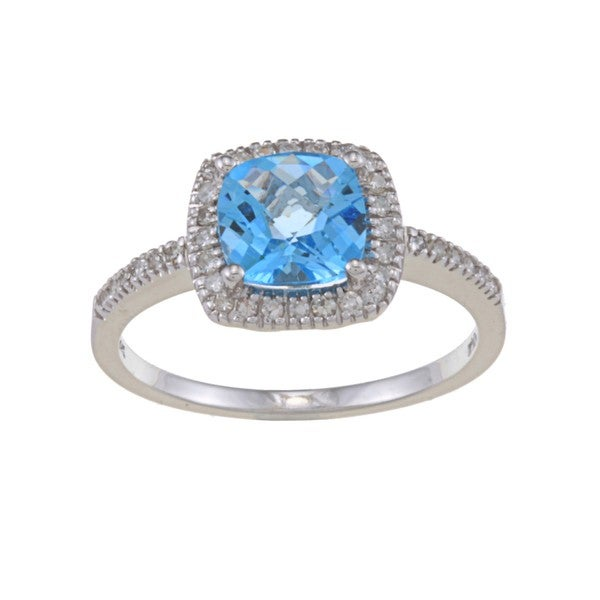 14k White Gold Blue Topaz and 1/5ct TDW Diamond Ring (G-H, SI1-SI2)