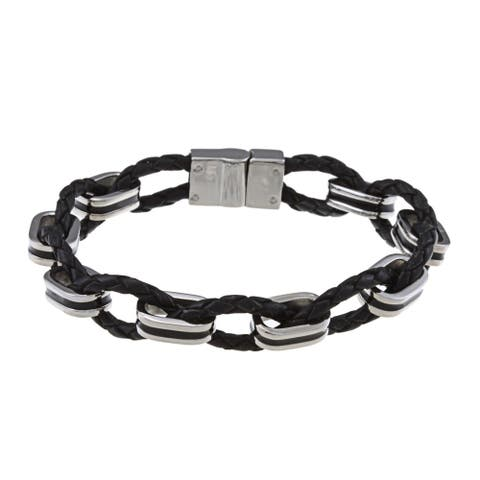 La Preciosa Stainless Steel Woven Leather and Oval Links Bracelet