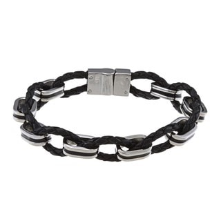 Link to La Preciosa Stainless Steel Woven Leather and Oval Links Bracelet Similar Items in Men's Jewelry