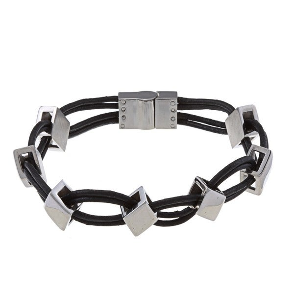La Preciosa Stainless Steel Leather and Diamond Shaped Links Bracelet. Opens flyout.