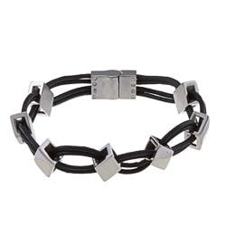 La Preciosa Stainless Steel Leather and Diamond Shaped Links Bracelet