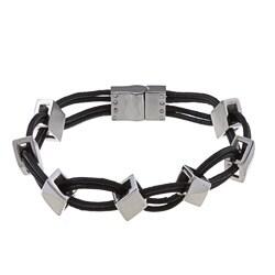 La Preciosa Stainless Steel Leather and Diamond Shaped Links Bracelet