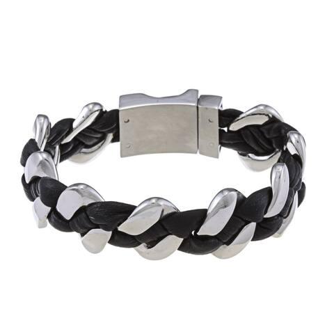 La Preciosa Stainless Steel Thick Braided Leather Bracelet