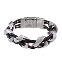 La Preciosa Stainless Steel Braided Leather Bracelet