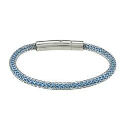 La Preciosa Stainless Steel Mesh-covered Sky Blue Cord Bracelet