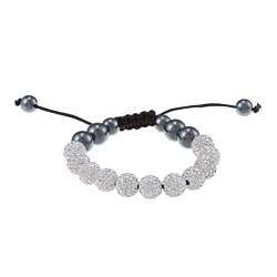 La Preciosa 10mm White Crystal and Hematite Beads w/ Black Cord Macrame Bracelet