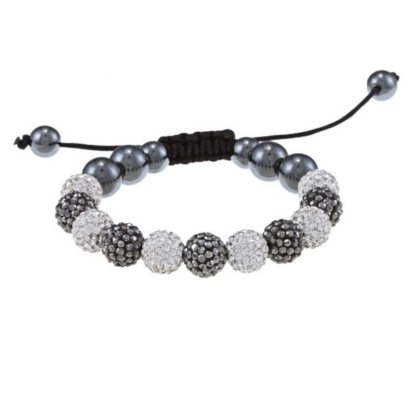 La Preciosa 10mm White, Grey Crystal and Hematite Beads w/ Black Cord Macrame Bracelet