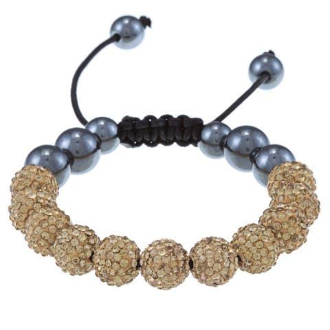 La Preciosa Champagne Crystal and Hematite Bead Black Macrame Bracelet