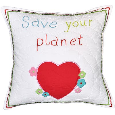 Cottage Home Save Your Planet Cotton 16 Inch Throw Pillow