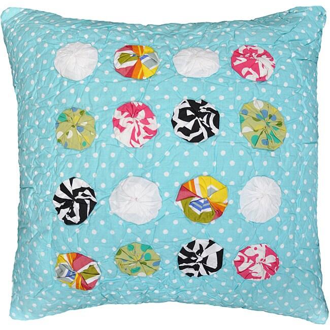 Polka Dot Teal Decorative Pillow