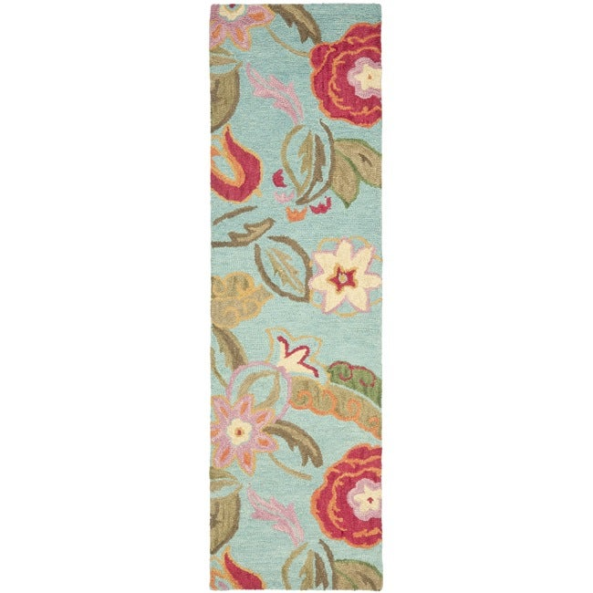 "Safavieh Handmade Blossom Blue Wool Rug - 2'3"" x 8'"