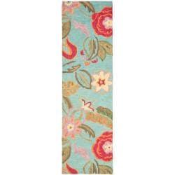 "Safavieh Handmade Blossom Blue Wool Rug - 2'3"" x 8' - Thumbnail 0"