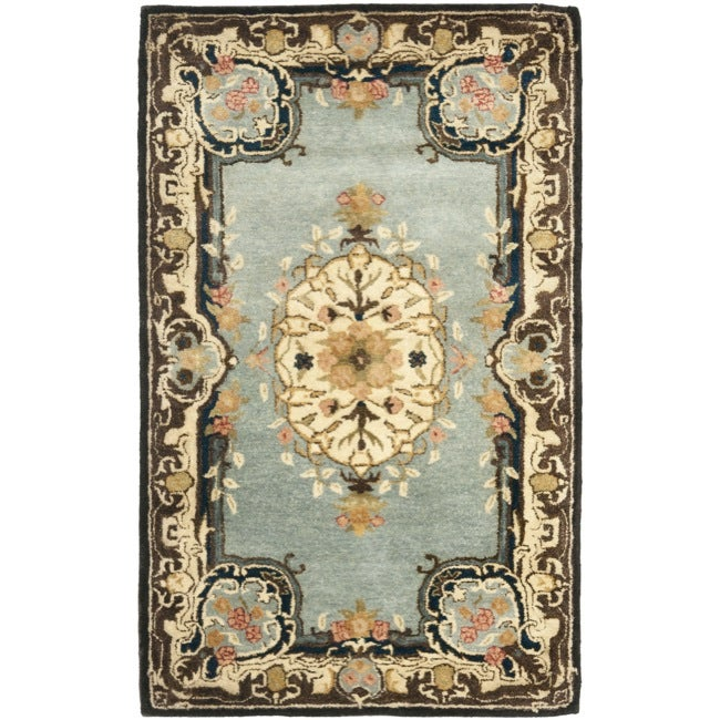 Safavieh Handmade Bliss Light Blue/ Ivory Hand-spun Wool Rug (3' x 5')