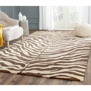 """Safavieh Handmade Zebra Beige Hand-spun Wool Rug - 2'3"""" x 10'"""