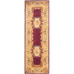 Safavieh Handmade Aubusson Limours Burgundy/ Gold Wool Rug (2'6 x 8')
