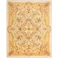 "Safavieh Handmade Aubusson Creteil Beige/ Light Gold Wool Rug - 9'6"" x 13'6"""