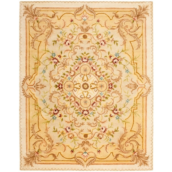 "Safavieh Handmade Aubusson Creteil Beige/ Light Gold Wool Rug - 9'-6"" x 13'-6"""