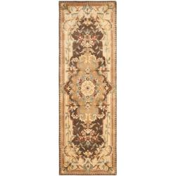 Safavieh Handmade Aubusson Creteil Brown/ Beige Wool Rug (2'6 x 10')