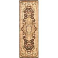 """Safavieh Handmade Aubusson Creteil Brown/ Beige Wool Rug - 2'6"""" x 10'"""