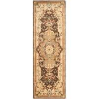 """Safavieh Handmade Aubusson Creteil Brown/ Beige Wool Rug - 2'6"""" x 12'"""