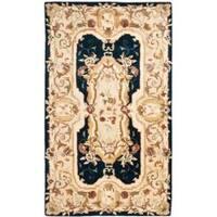 Safavieh Handmade Aubusson Plaisir Navy/ Beige Wool Rug - 3' x 5'