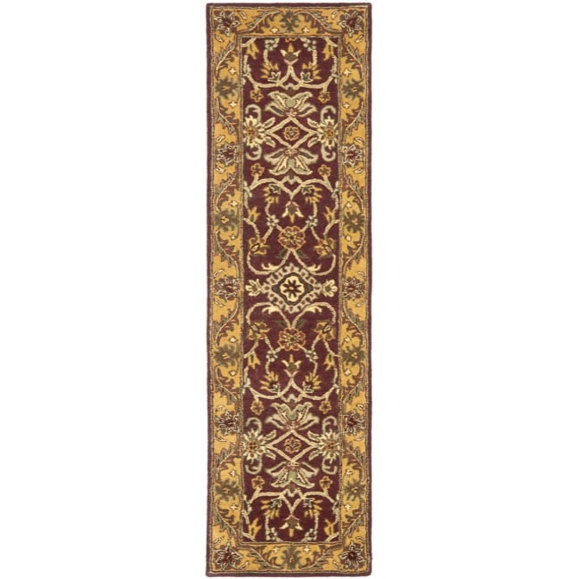 Safavieh Handmade Golden Jaipur Burgundy/ Gold Wool Rug (2'3 x 14')