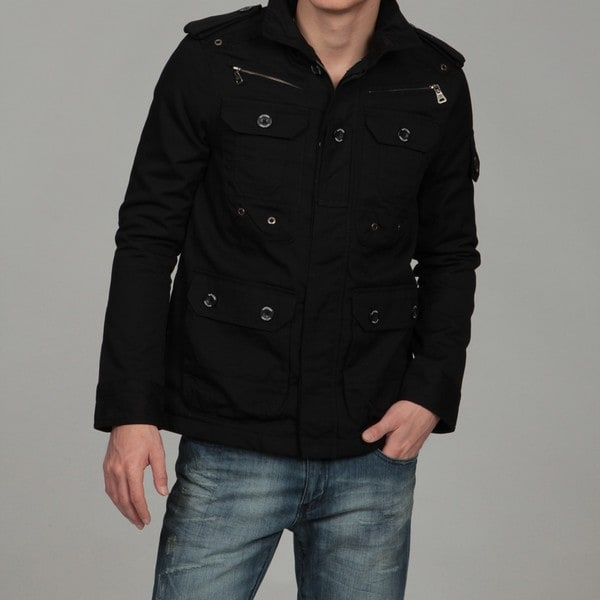 WT02 Men's Black Military Jacket - Free Shipping Today - Overstock ...