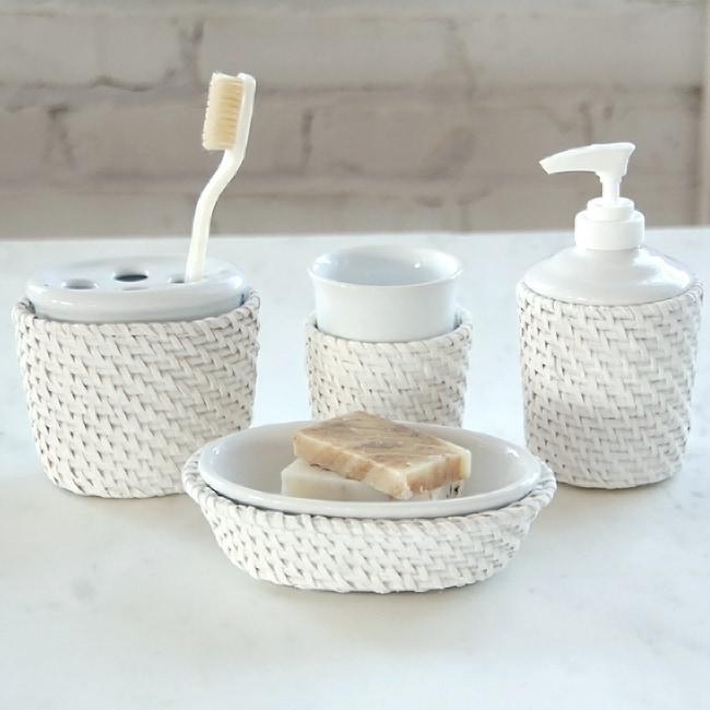 Shop cayman white rattan ceramic insert bath accessory 4 - White wicker bathroom accessories ...