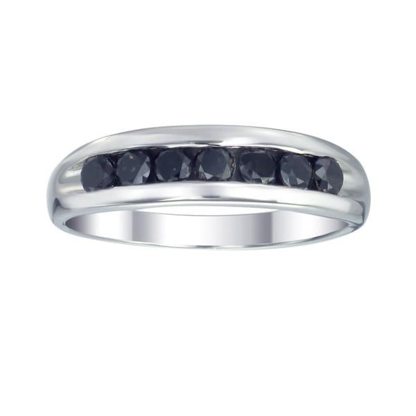 Sterling Silver 1ct TDW Men's Seven Stone Black Diamond Ring